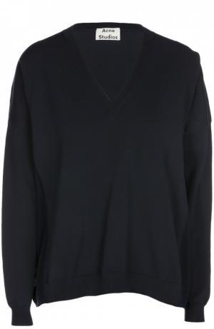 Пуловер прямого кроя с V-образным вырезом Acne Studios. Цвет: синий