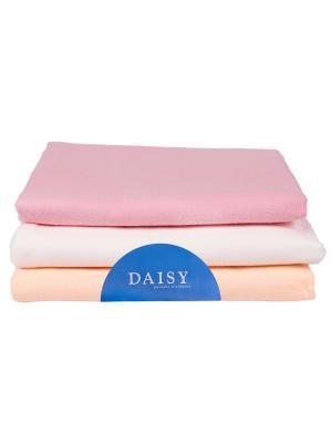 Пеленка Фланель розовая 3 шт. DAISY. Цвет: розовый, персиковый, белый