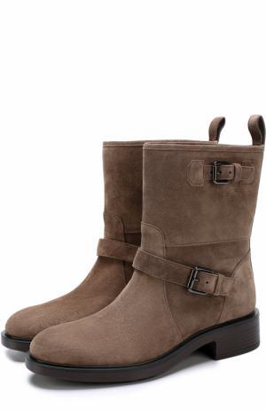 Замшевые ботинки с ремешками Hogan. Цвет: бежевый