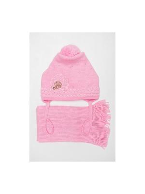 Шапка, шарф Tricotier. Цвет: розовый