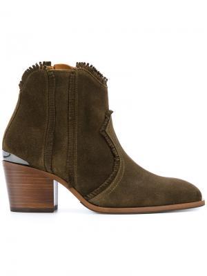 Ботинки  с бахромой Nubikk. Цвет: зелёный