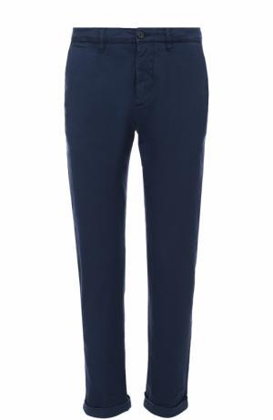Хлопковые брюки прямого кроя Dirk Bikkembergs. Цвет: темно-синий