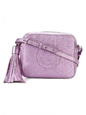 Металлизированная сумка через плечо Smiley Anya Hindmarch. Цвет: розовый и фиолетовый