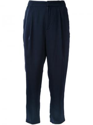 Укороченные атласные брюки Cityshop. Цвет: синий