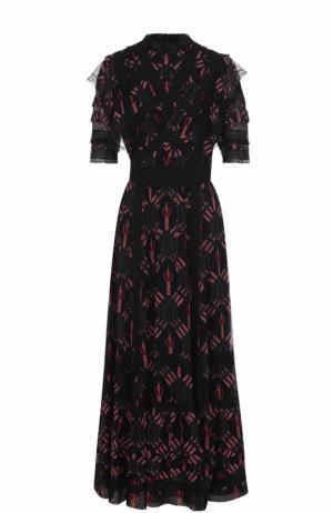 Шелковое платье-макси с оборками Valentino. Цвет: черный