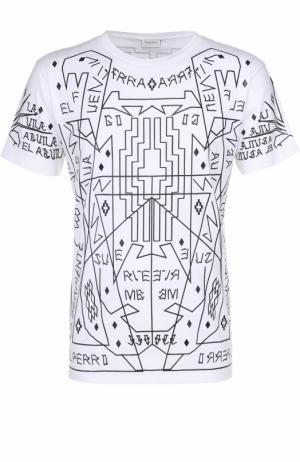 Хлопковая футболка с контрастным принтом Marcelo Burlon. Цвет: белый
