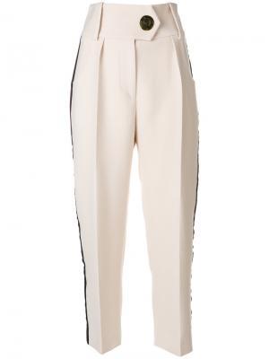 Укороченные брюки с лампасами Petar Petrov. Цвет: белый