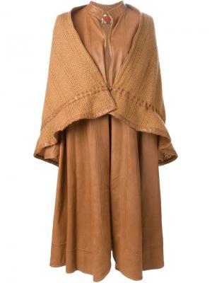 Удлиненное многослойное пальто Roberta  Di Camerino Vintage. Цвет: телесный