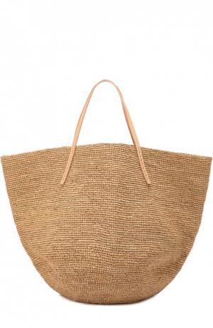 Плетеная сумка Kapity из рафии Sans-Arcidet. Цвет: темно-бежевый