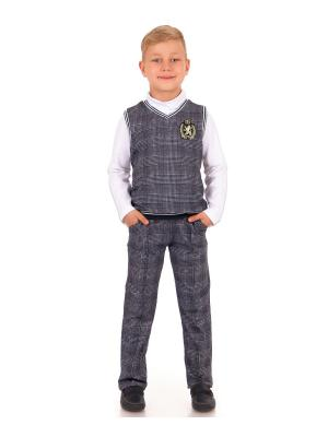 Комплект: брюки, жилет Первый звонок Апрель. Цвет: черный, белый, прозрачный