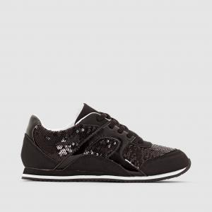 Кеды низкие в стиле running с блестками abcd'R. Цвет: черный
