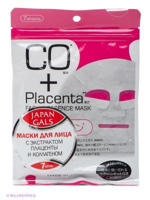 Маска с плацентой и коллагеном Facial Essence Mask 7 шт Japan Gals. Цвет: белый, розовый