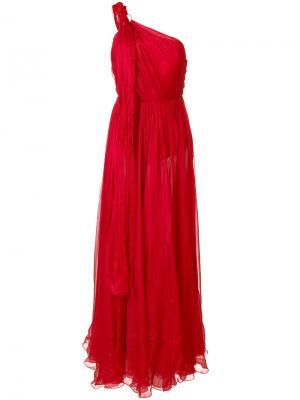 Асимметричное платье на одно плечо Maria Lucia Hohan. Цвет: красный