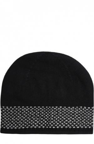Кашемировая шапка тонкой вязки Johnstons Of Elgin. Цвет: черно-белый