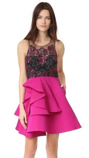 Коктейльное платье с вышивкой блестками Marchesa Notte. Цвет: фуксия