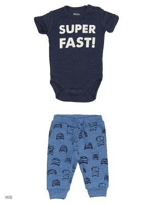 Комплект нательный для малыша FOX. Цвет: серо-голубой, темно-синий