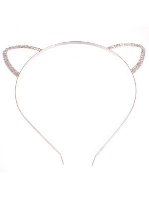 Металлические ободочки плоские серебро, большие ушки в стразах Радужки. Цвет: серебристый