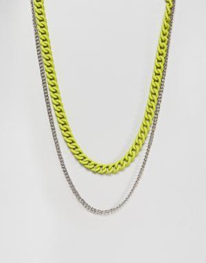 ASOS Двойное ожерелье с желтой флуоресцентной отделкой. Цвет: серебряный