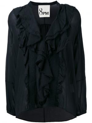 Плиссированная блузка 8pm. Цвет: чёрный