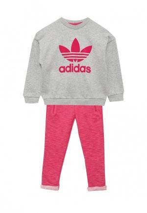 Костюм спортивный adidas Originals. Цвет: серый, фуксия