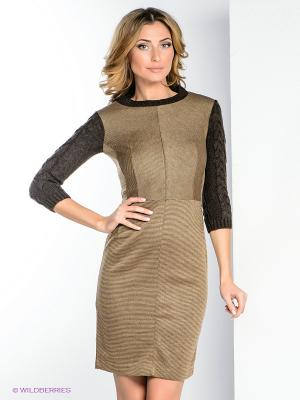 Платье ZARINA. Цвет: коричневый, светло-коричневый