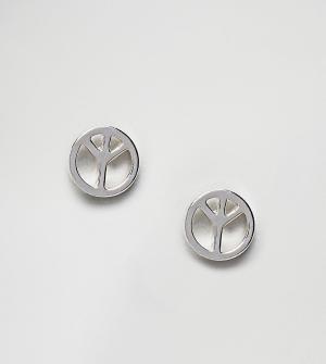 Reclaimed Vintage Серебристые серьги-гвоздики с символом мира Inspired. Цвет: серебряный