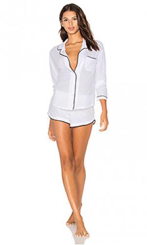 Пижама из натурального хлопка с окантовкой длинным рукавом и шортами Only Hearts. Цвет: белый