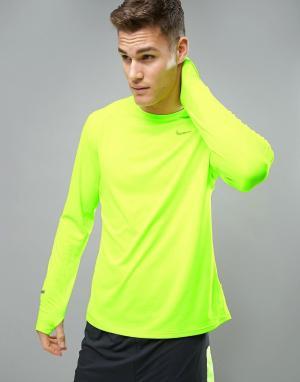 Nike Running Желтый лонгслив из быстросохнущей ткани Dri-FIT 683521-70. Цвет: желтый