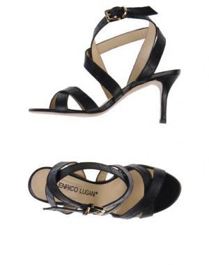 Босоножки на каблуке ENRICO LUGANI. Цвет: черный