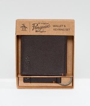 Original Penguin Коричневый бумажник и брелок для ключей. Цвет: коричневый