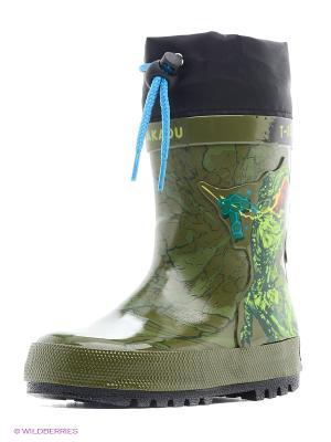 Резиновые сапоги Kakadu. Цвет: черный, зеленый, голубой