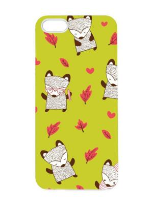 Чехол для iPhone 5/5s Лисички на салатовом Арт. IP5-087 Chocopony. Цвет: салатовый
