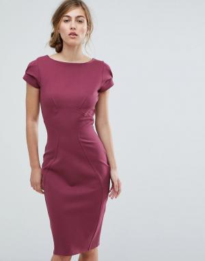 Closet London Платье-футляр с присборенными короткими рукавами. Цвет: фиолетовый