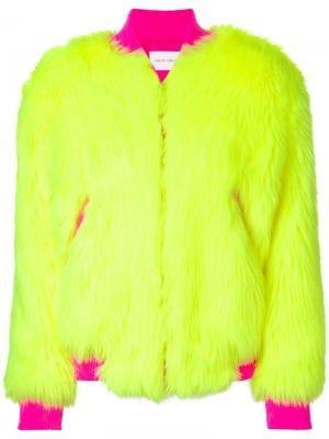 Куртка-бомбер из искусственного меха Alberta Ferretti. Цвет: жёлтый и оранжевый