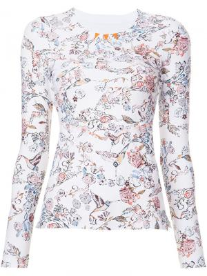 Floral print fine knit sweatshirt Lucas Hugh. Цвет: белый