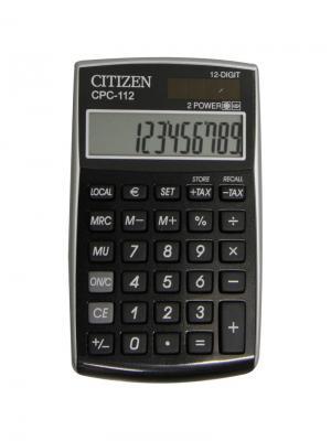 Калькулятор карманный CPC-112BK 12 разрядов, двойное питание, 72*120*9 мм, черный CITIZEN. Цвет: черный