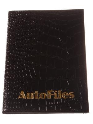 Обложка для автодокументов, черный крокодил Радужки. Цвет: черный