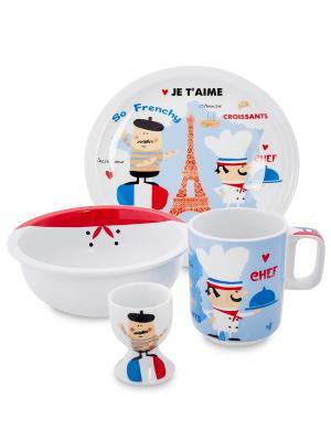 Набор посуды для завтрака Мечты сбываются (Paris Amour/TOPCHOICE) Top Choice. Цвет: белый, синий, красный