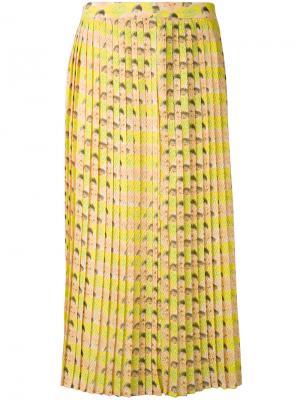 Плиссированная юбка Cotélac. Цвет: жёлтый и оранжевый