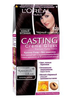 Стойкая краска-уход для волос Casting Creme Gloss без аммиака, оттенок 323, Черный шоколад L'Oreal Paris. Цвет: темно-коричневый