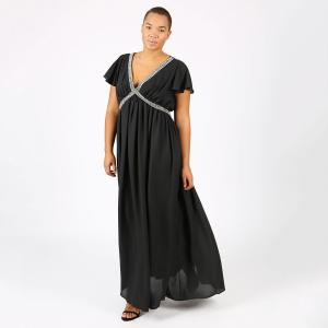 Платье длинное плиссированное однотонное с короткими рукавами LOVEDROBE. Цвет: черный