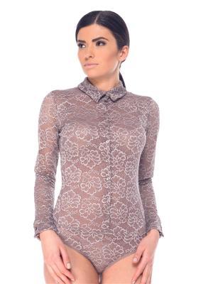 Блузка- боди Arefeva. Цвет: серо-коричневый