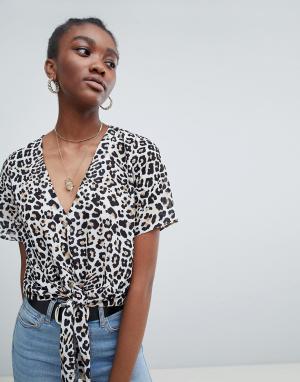 New Look Рубашка с леопардовым принтом. Цвет: коричневый