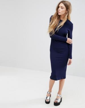 ASOS Облегающее платье миди в рубчик с длинными рукавами. Цвет: темно-синий