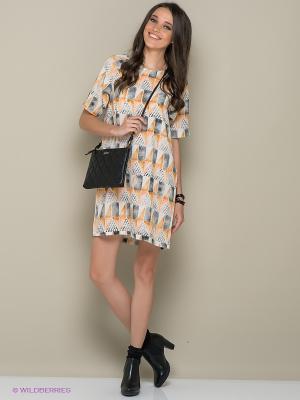 Платье ICHI. Цвет: светло-коричневый, персиковый, белый, темно-серый