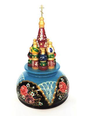 Церквушка маленькая с заводным механизмом синяя цветами Taowa. Цвет: синий, черный