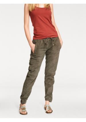 Кожаные брюки B.C. BEST CONNECTIONS by Heine. Цвет: серо-коричневый