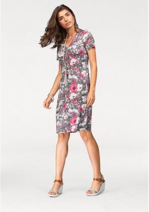Платье BOYSENS BOYSEN'S. Цвет: серый/ярко-розовый с рисунком