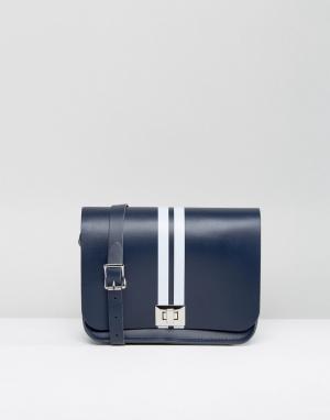 Leather Satchel Company Темно-синяя сумка через плечо с белыми полосками Compa. Цвет: темно-синий
