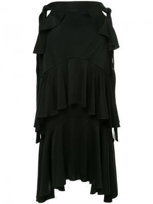 Асимметричная юбка с рюшами Ellery. Цвет: чёрный